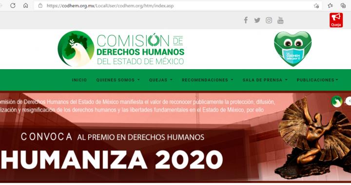CONVOCA LA CODHEM A PARTICIPAR EN EL PREMIO HUMANIZA 2020