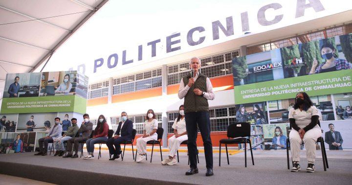 ENTREGA ALFREDO DEL MAZO NUEVO EDIFICIO A LA UNIVERSIDAD POLITÉCNICA DE CHIMALHUACÁN QUE IMPULSA LA EDUCACIÓN SUPERIOR Y LA FORMACIÓN DE JÓVENES MEXIQUENSES